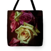 Dramatic Purple And Yellow Roses Tote Bag