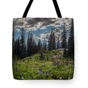 Dramatic Rainier Flower Meadows Tote Bag