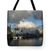 Dramatic Tropical Storm Light Over Honolulu Hawaii  Tote Bag