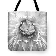 Dramatic White Dahlia Flower Monochrome Tote Bag