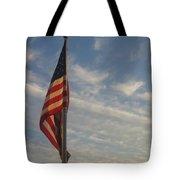 Draped American Flag Pole Dusk  Casa Grande Arizona 2004 Tote Bag