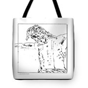Drawing Of Christ On The Cross Tote Bag