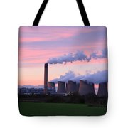 Drax Power Station At Sunset Tote Bag