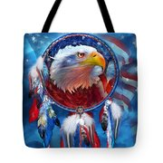 Dream Catcher - Eagle Red White Blue Tote Bag by Carol Cavalaris