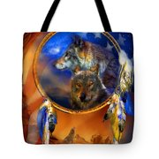 Dream Catcher - Wolf Dreams Patriotic Tote Bag
