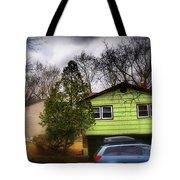 Suburban Dream - House With Blue Car Tote Bag