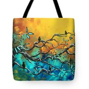 Dream Watchers Original Abstract Bird Painting Tote Bag