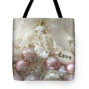 Dreamy Angel Christmas Holiday Shabby Chic Love Print - Holiday Angel Art Romantic Holiday Ornaments Tote Bag