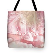 Dreamy Baby Pink Merry Go Round Carousel Horses - Pink Carousel Horses Baby Girl Nursery Decor Tote Bag