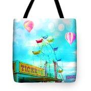 Dreamy Carnival Ferris Wheel Ticket Booth Hot Air Balloons Teal Aquamarine Blue Festival Fair Rides Tote Bag