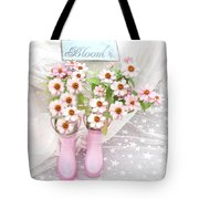 Dreamy Cottage Garden Art - Shabby Chic Pink Flowers Garden Bloom With Pink Rain Boots Tote Bag