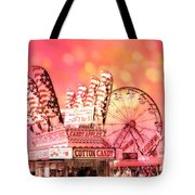 Surreal Hot Pink Orange Carnival Festival Cotton Candy Stand Candy Apples Ferris Wheel Art Tote Bag