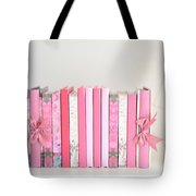 Dreamy Romantic Books Collection - Shabby Chic Cottage Chic Pastel Pink Books Photograph Tote Bag by Kathy Fornal