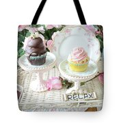 Dreamy Shabby Chic Pink Chocolate Cupcakes Vintage Romantic Food Floral Cupcake Kitchen Art Decor Tote Bag