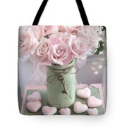 Shabby Chic Pink Roses - Romantic Valentine Roses Hearts Floral Prints Home Decor - Romantic Roses  Tote Bag