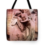 Dreamy Surreal Beautiful Angel Art Photograph - Angel Mourning Weeping At Gravestone  Tote Bag