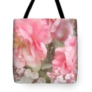 Dreamy Pink Roses, Shabby Chic Pink Roses - Romantic Roses Peonies Floral Decor Tote Bag