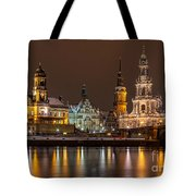 Dresden By Night Tote Bag by Bernd Laeschke