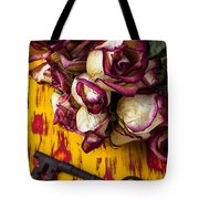 Dried Pink Roses And Key Tote Bag