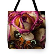 Dried Rose And Butterfly Tote Bag