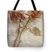 Dried Roses And Vintage Letter Tote Bag
