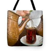 Drinking Traditional Turkish Tea Tote Bag