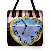 Dripping Clock On Piano Keys Tote Bag by Garry Gay