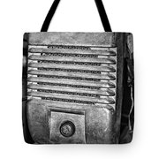 Drive In Movie Speaker In Black And White Tote Bag by Paul Ward