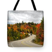 Driving Through Algonquin Park In Fall Tote Bag