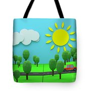 Driving Through Countryside Tote Bag