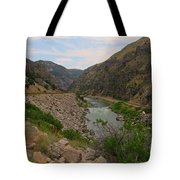 Driving Through Wind River Canyon Tote Bag