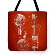 Droop Hand  Drum Patent Drawing From 1892 - Red Tote Bag