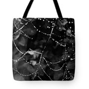 Droplets On The Web Bw Tote Bag