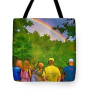 Drum Circle Rainbow Tote Bag