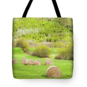 Dry Hay Bales In Spring Farm Field Maine Tote Bag