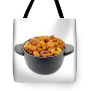 Dry Raisins In A Black Cup Tote Bag