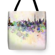Dubai Skyline In Watercolour Background Tote Bag