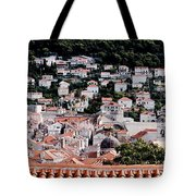 Dubrovnik Rooftops Domes And North East Walls Against The Mountains From The Sea Walls Tote Bag