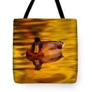 Duck On Golden Water Tote Bag