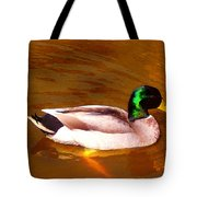 Duck Swimming On Golden Pond Tote Bag