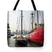 Ducking At City Harbor Tote Bag