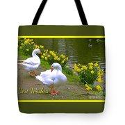 Ducks And Daffodils Greeting Tote Bag