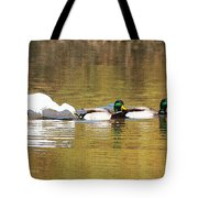 Ducks And Egret Tote Bag