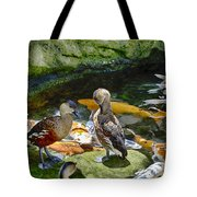 Ducks At The Koi Pond Tote Bag