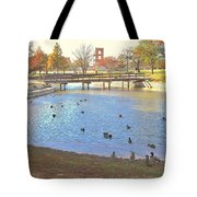 Ducks At The Park Pond Tote Bag