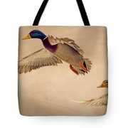 Ducks In Flight Tote Bag
