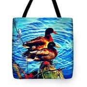 Ducks On A Log Tote Bag
