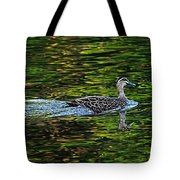 Ducks On Green Reflections - Panorama Tote Bag