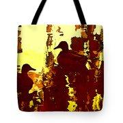 Ducks On Red Lake 3 Tote Bag