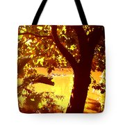 Ducks Swimming In The Distance Tote Bag